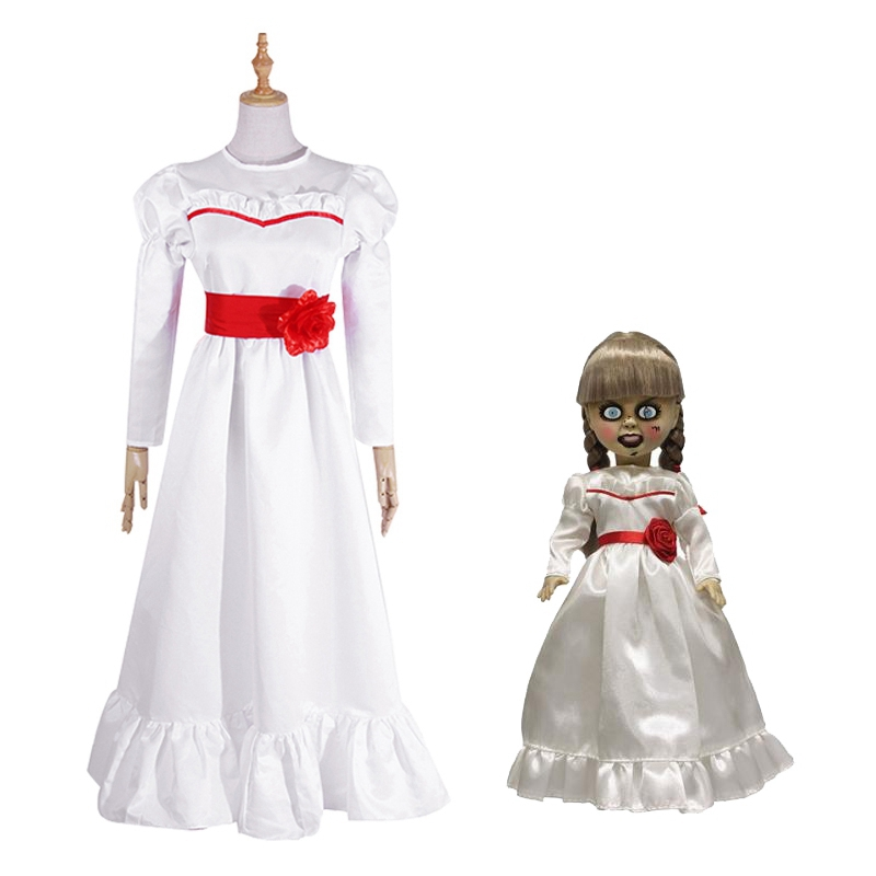 Halloween Ghost Doll Annabelle Cosplay Costume Kids Women White Long Dress Medieval Ghost Doll Dress Halloween Party Costume