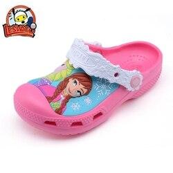 Lesvago quality kid Sandals Slippers Girls princess Summer Cartoon elsa anna shoes Garden shoes Casual fashion Sandals 9713