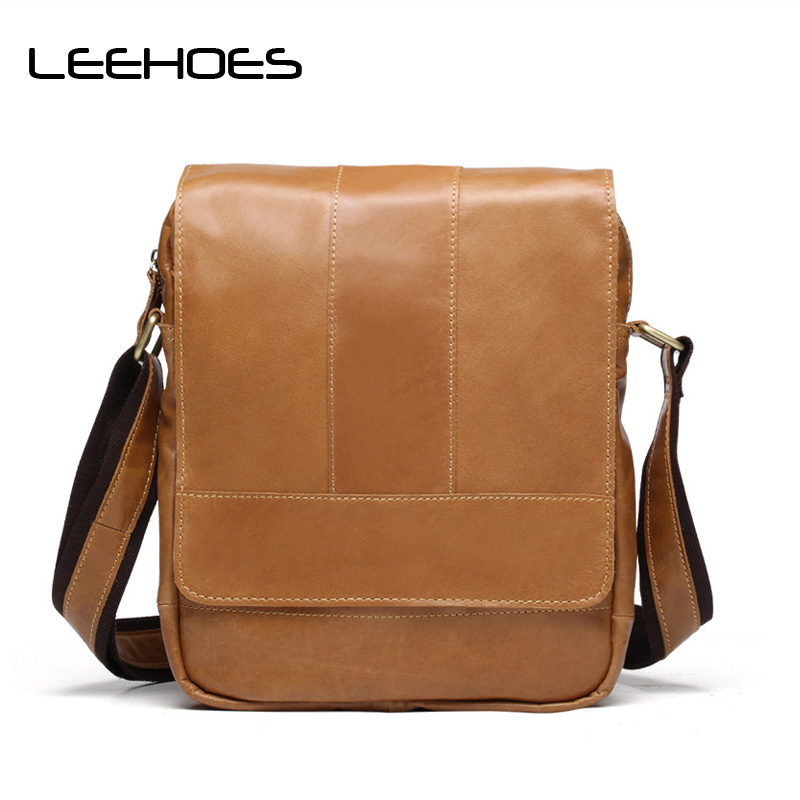 2017 Hot Men Casual Briefcase Business Shoulder Bag Genuine Leather Bag Messenger Bags Travel Fashion Male Bags Male Small Flap