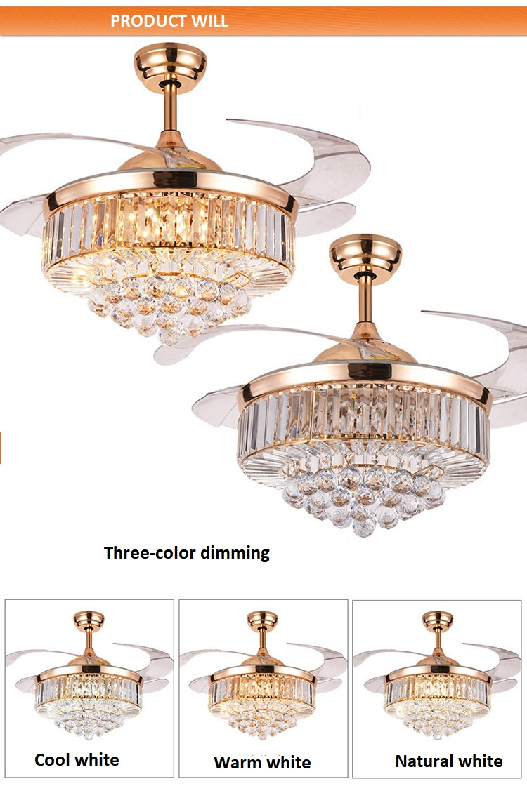 European-style LED Invisible Crystal Fan Light (12)