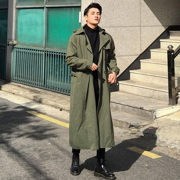 New loose double-breasted coat for spring 2018 men's long knee-length men's windbreaker.    M-6XL!!