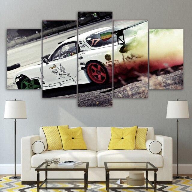 Modernen Rahmen 5 Panel Weiss Sport Kuhlen Auto Poster Leinwand