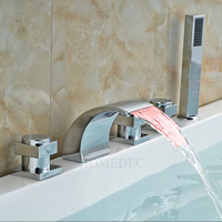 LED Bathtub Faucets Deck Mounted Bath Faucet Cold And Hot Waterfall Mixer For The Bathroom With Shower Nozzle