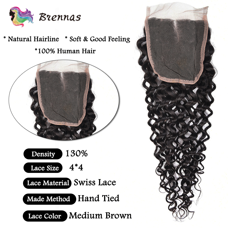 Image 4 - Brennas Malaysian Jerry Curly hair with closure Human Hair Weave Remy hair extension bundles with closure natural color 8 26''-in 3/4 Bundles with Closure from Hair Extensions & Wigs