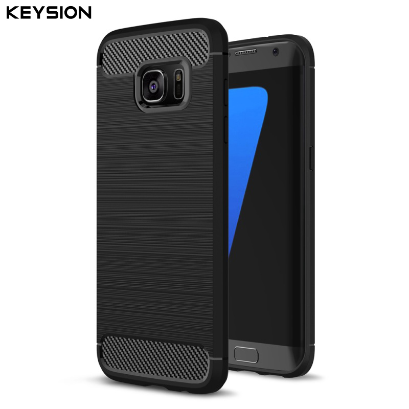 KEYSION Kryt pro Galaxy S7 S7 edge telefon Pouzdra Shell Carbon Fiber Brushed TPU Pouzdro pro Samsung Galaxy S7 S7Edge Telefon Bag