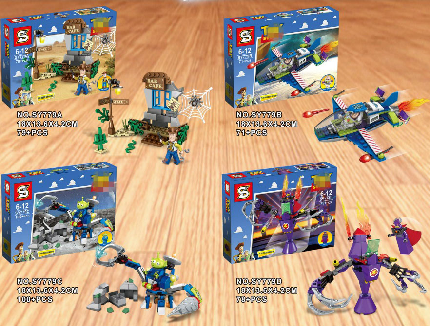 4PCS Toy Story Woody  Fighter Buzz Lightyear Cafe Alien Zurg Mech  Building Block Bricks Kids Toys  No Box