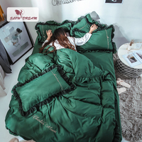 SlowDream Green Fresh Luxury Bedding Set Bed Flat Sheet Bed Linen Cotton Bedspread Lace Decor Duvet Cover Bed Set Birthday Gift