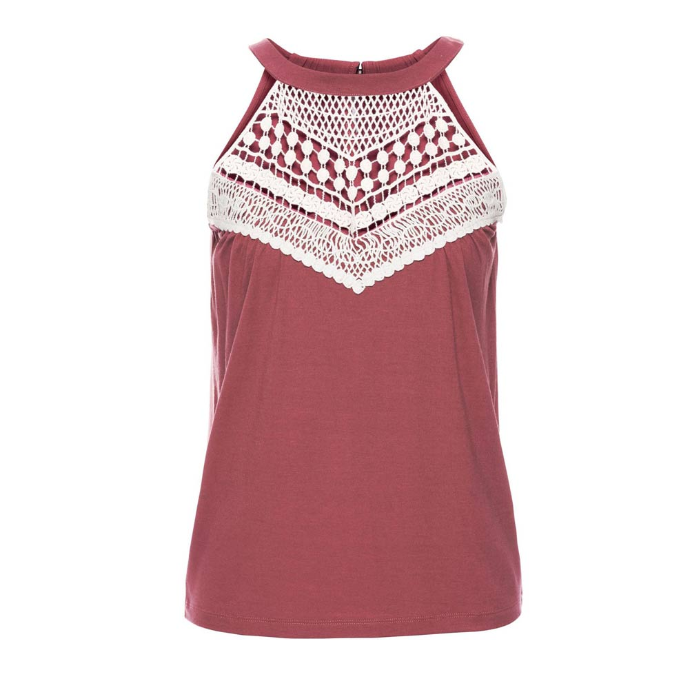Fashion Summer Women Sexy Vest Sleeveless Lace Splice Shirt Off Shoulder Halter Tops Ladies Girls Casual Blouse -MX8