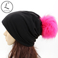 GZHILOVINGL New 2016 2017 Spring Winter Hats For Women Solid Slouchy Beanies Skullies Hip Hop Hats With Hot Pink Fur Pom Pom Cap