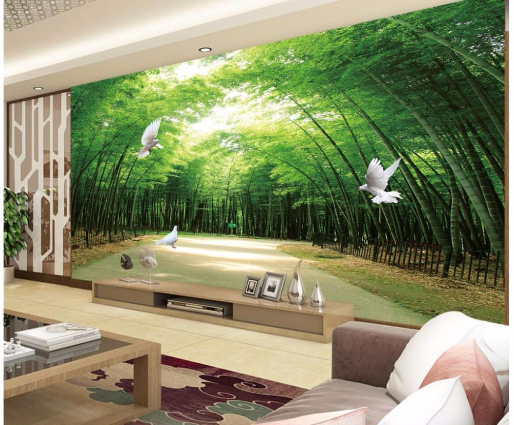 3D Wallpaper Custom Any Size Mural Wallpaper Bamboo Forest TV Background 3D Mural Wall Paper Living Room Wallpaper beibehang 3d wallpaper bedroom sofa mural wallpaper living room tv background wall paper forest bridge photo wallpaper roll