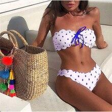 2019 New Polka Dot Sexy Bikini Women Bandeau Push Up swimwear Summer Beachwear Swimsuit Female Print Bikini Set Bathing Suit