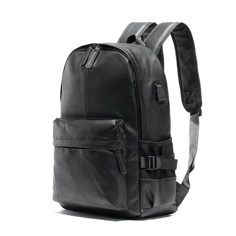 14 Inch Notebook Backpack Black Leather Backpack For Men USB Charging Male Travel Backpack College Student Rucksacks
