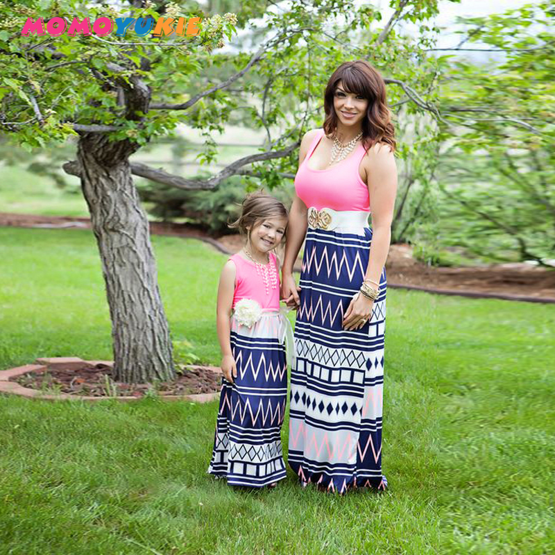 mother daughter dresses family matching outfits sleeveless striped patchwork mom and baby girl kid casual maxi dress in Matching Family Outfits from Mother Kids