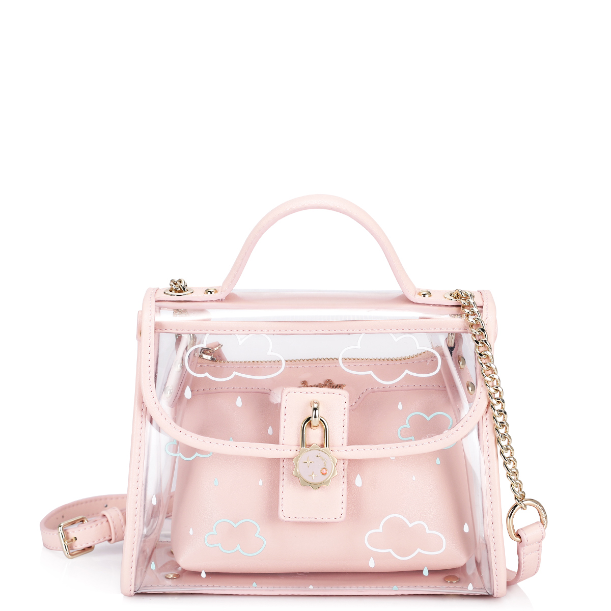 2017 Summer Pink Women Composite Bag Set For Beach PVC Clear Transparent Bags Shoulder Small Ladies Clutch Messenger Handbag