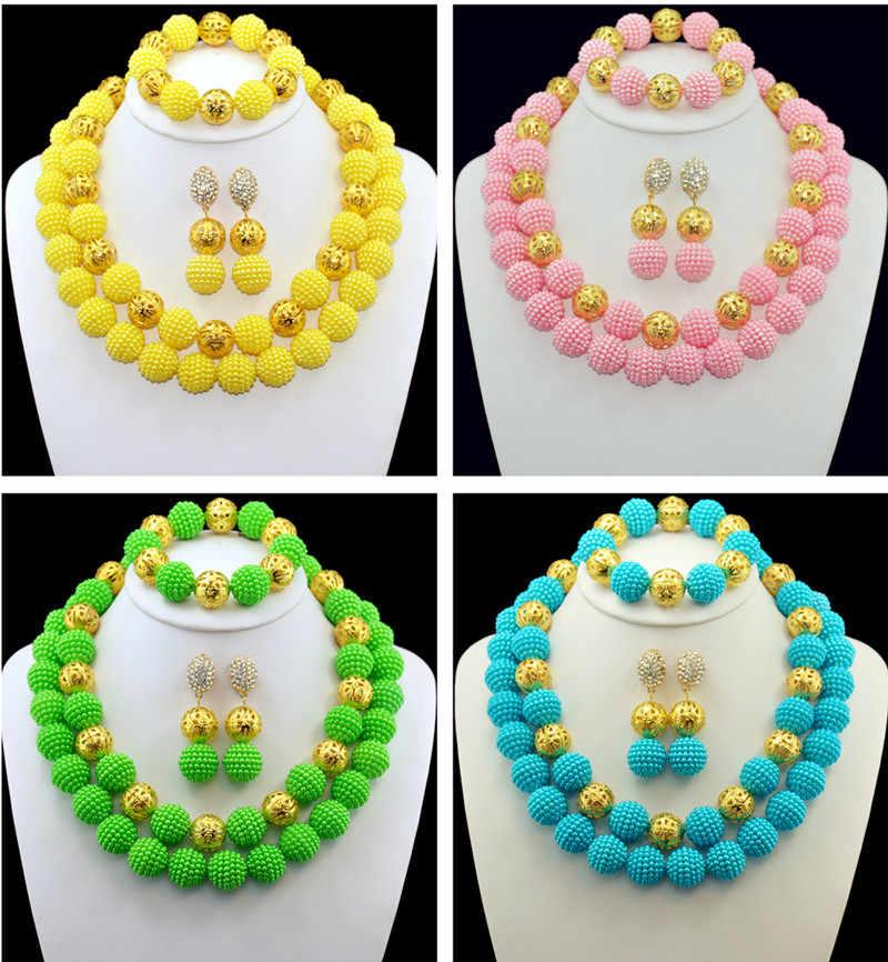 Heißer Verkauf Nigerianischen Hochzeits Afrikanische Perlen Schmuck Set Imitation Perle Halskette Afrikanischen Kostüm Brautschmuck Sets Kostenloser Versand