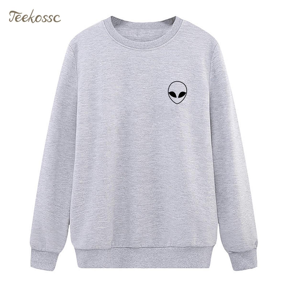 Alien Pocket Sweatshirts Womens Print Hoodie 2018 New Winter Autumn Lady Pullover Loose Fleece Warm Hipster Casual Streetwear