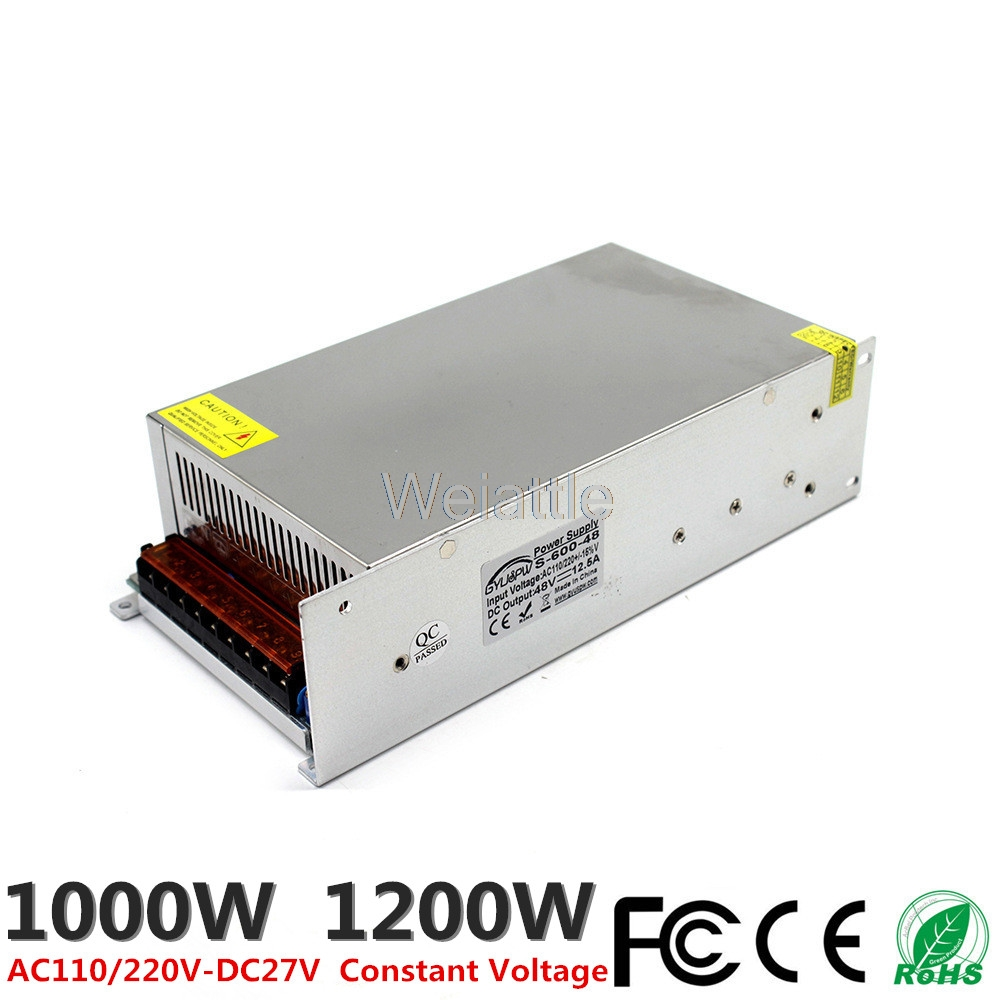 DC27V 37A 1000W 44 4A 1200W LED Light Belt Driver Switching Power Supply 110 220VAC Transformer