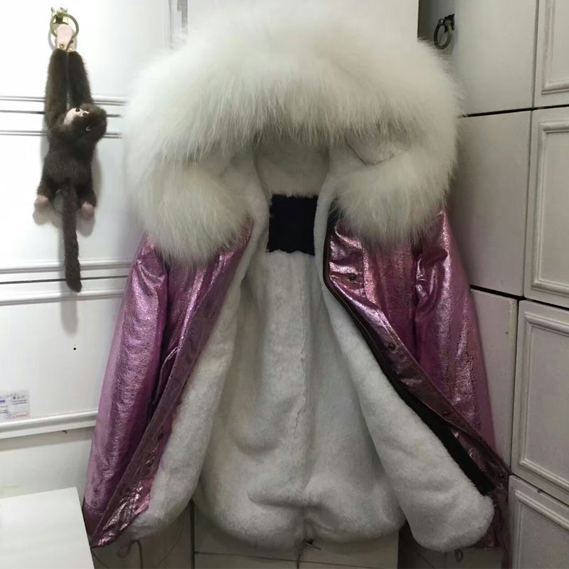 Fashion New style high quality winter short parka Rose gold leather white fur jacket women pink fur coats