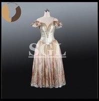 Профессиональный Длинные платье пачка взрослых золото Цвет 5 слоев юбка с трусы Балетные костюмы для выступления на сцене at1207