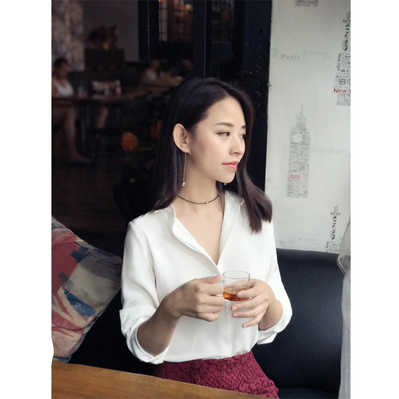 2017 Women solid white silk blouse All match casual abstinence series goddess pure white blouses shirt ...