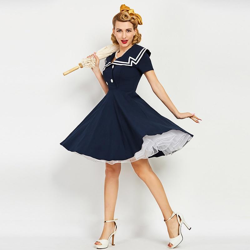 Sisjuly Vintage Dresses 50s 60s Solid Dark Blue Knee