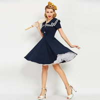 Sisjuly Vintage Dresses 50s 60s Solid Dark Blue Knee Length Button Women Summer Dress Casual Sailor