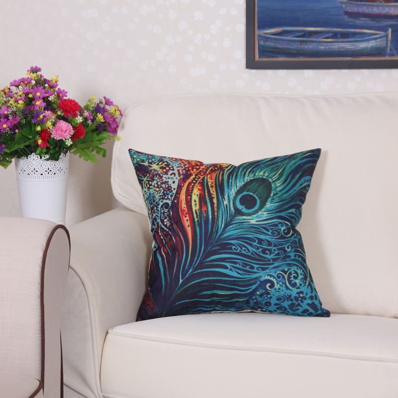 beautiful peacock feather linen cushion cover 45cm throw pillow case christmas decoration for. Black Bedroom Furniture Sets. Home Design Ideas