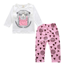 girls clothes set cartoon long sleeve+Prink Pants set clothes newborn baby suit children clothing girls Clothes Suit