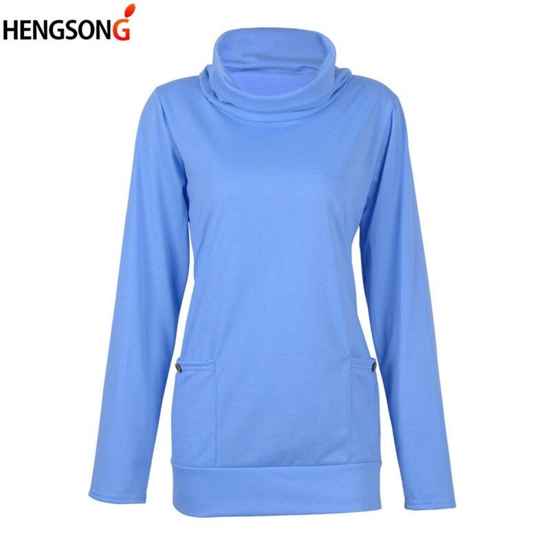 Fashion Women's Hoodies 2018 New Spring Solid Pile Collar Pocket Sweatshirts Long Sleeve Female Pullovers Knitwear Tops XXXL
