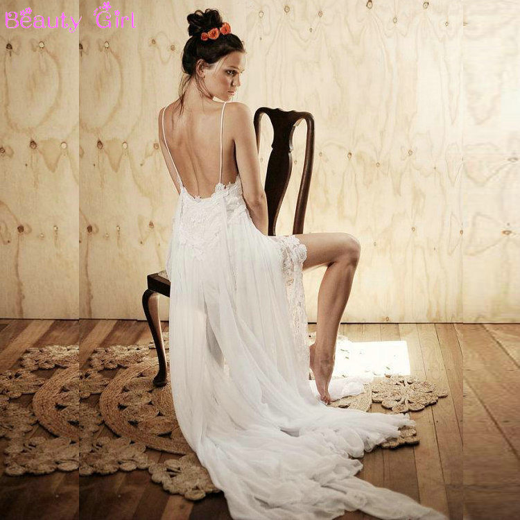 Lace Wedding Dresses Stunning Vintage White Beach Low Back Gowns Chiffon Dreamy Spaghtti Straps Slit Short In Front From
