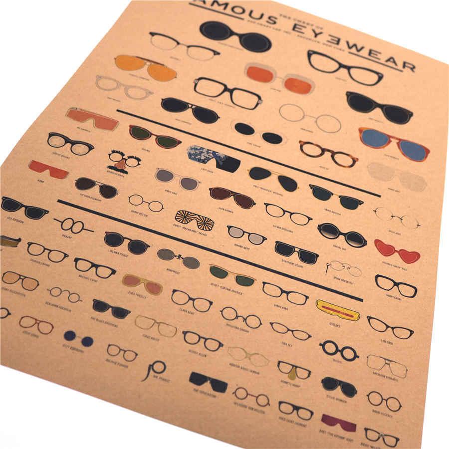 Vintage Poster Kacamata Koleksi Kertas Retro HD Dinding Foto Tua Stiker Cetakan Gambar Ruang Tamu Lukisan 42X30 Cm MXC018