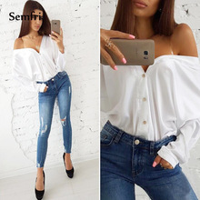 Semfri Summer and Autumn off shoulder top Sexy V Neck Women Blouse Solid Color with Open Shoulders Shirt Women Long Sleeve Top