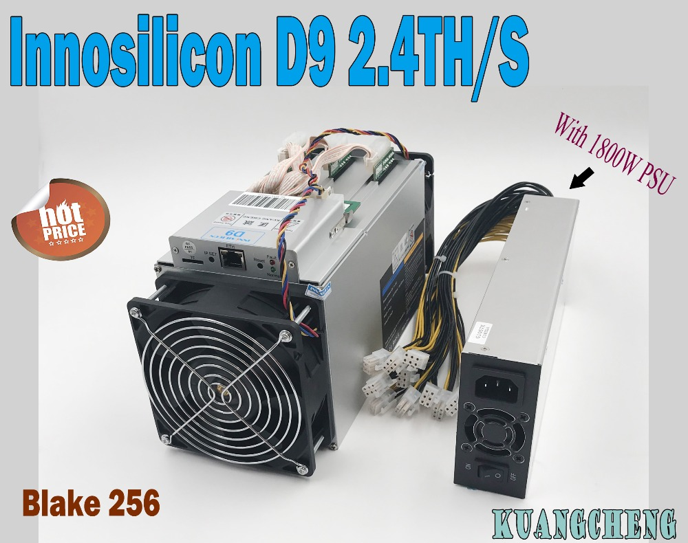 KUANGCHENG Sale New Innosilicon D9 DecredMaster 2.4TH/S 1000W Asic Miner With 750W Psu DCR Miner