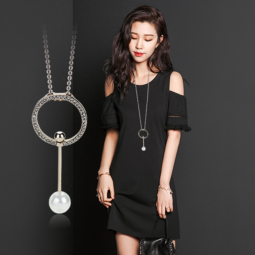 Vintage Jewelry Circle Strip Long Chain Pendants&Necklaces Big simulated pearl Choker fash