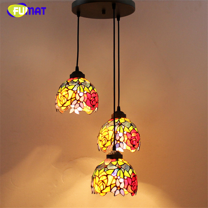 FUMAT Stained Glass Spiral Lamp Brief Art Glass Suspension Lights Flower Baroque Kitchen Hotel Project Pendant Light Fixtrues fumat stained glass pendant lights garden art lamp dinner room restaurant suspension lamp orchids rose grape glass lamp lighting