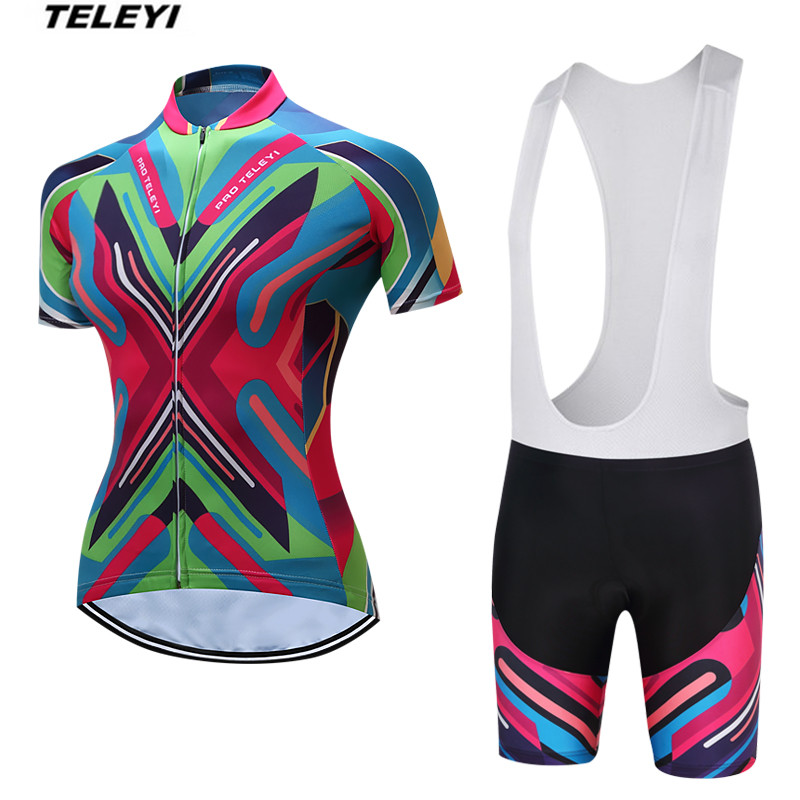 TELEYI Colorful MTB Bike Jersey Women's Cycling Clothing Ropa Ciclismo Pro Jersey Short  bicycle Top Shirt Maillot Breathable teleyi bike team racing cycling jersey spring long sleeve cycling clothing ropa ciclismo breathable bicycle clothes bike jersey