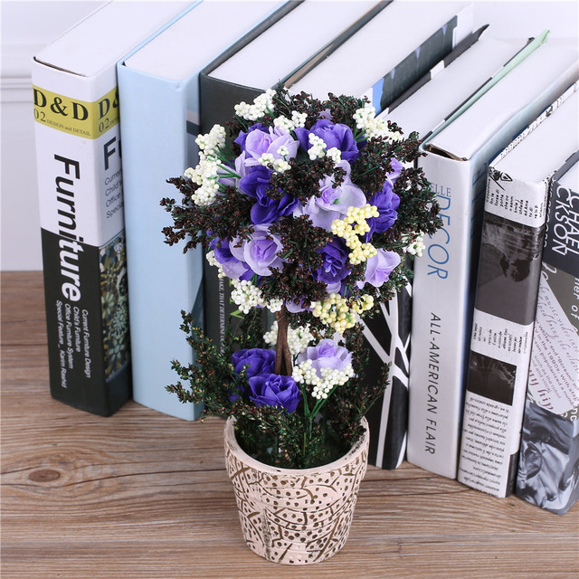artificial silk rose flowers bonsai+ceramic vase fake plants with