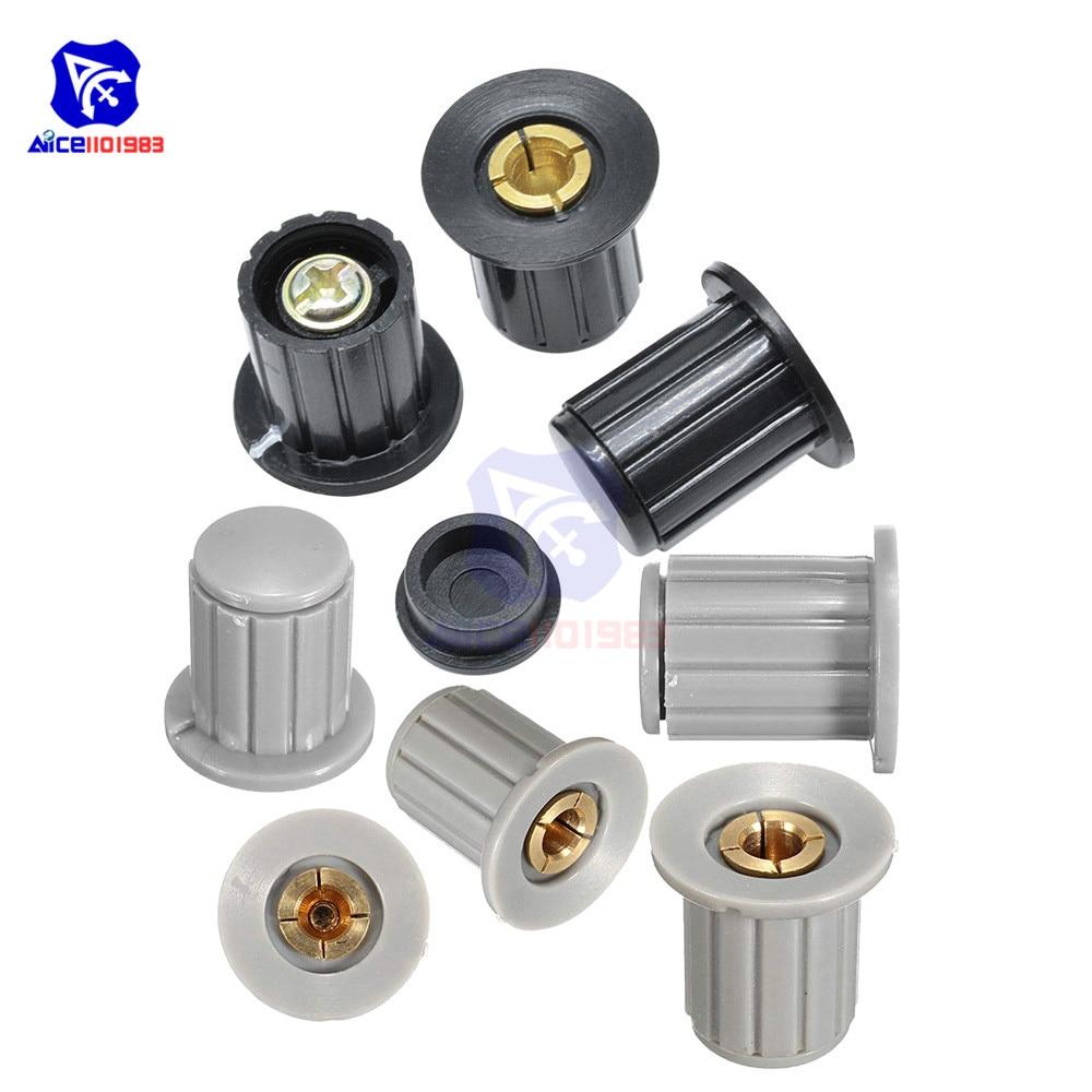 5PCS/Lot Black Gray Potentiometer Knob Adjustable 4mm 6mm 6.35mm Insert Dia. Wirewound Potentiometer Cap WXD3-13 WXD3-12 3590S