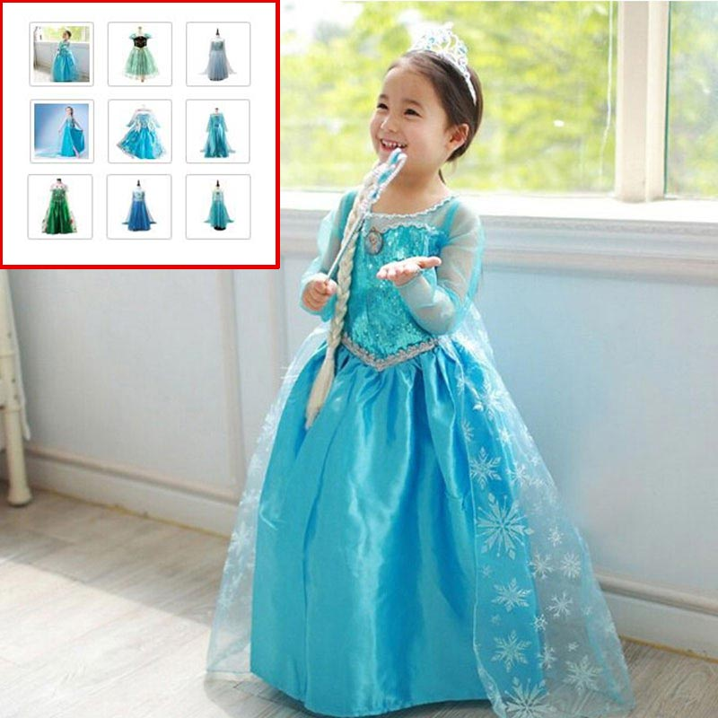 Dresses Girls Princess Anna Elsa Cosplay Costume Kid's Party Dress  Kids Girls Clothes