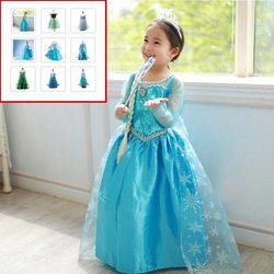 Nova chegada vestidos meninas princesa anna elsa cosplay traje do miúdo vestido de festa crianças roupas meninas