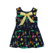 Baby Girls Summer Fashion Animals Floral Printed Princess Style Sleeveless Children Baby A-Line Dresses Kids Clothes New baby girls dresses 2017 spring sleeveless bow princess kids dress for girls new fashion floral printed children clothes ot58