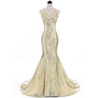 Champagne Sexy Open Back Evening Gown 2017 Mermaid V Neck Sequins Long Evening Dresses Prom Party