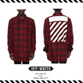 Top Quality New Arrival 2016 Fall Winte OFF WHITE Man Womam TARTAN  Classic Striped Wool Coat of Red Plaid SHIRT