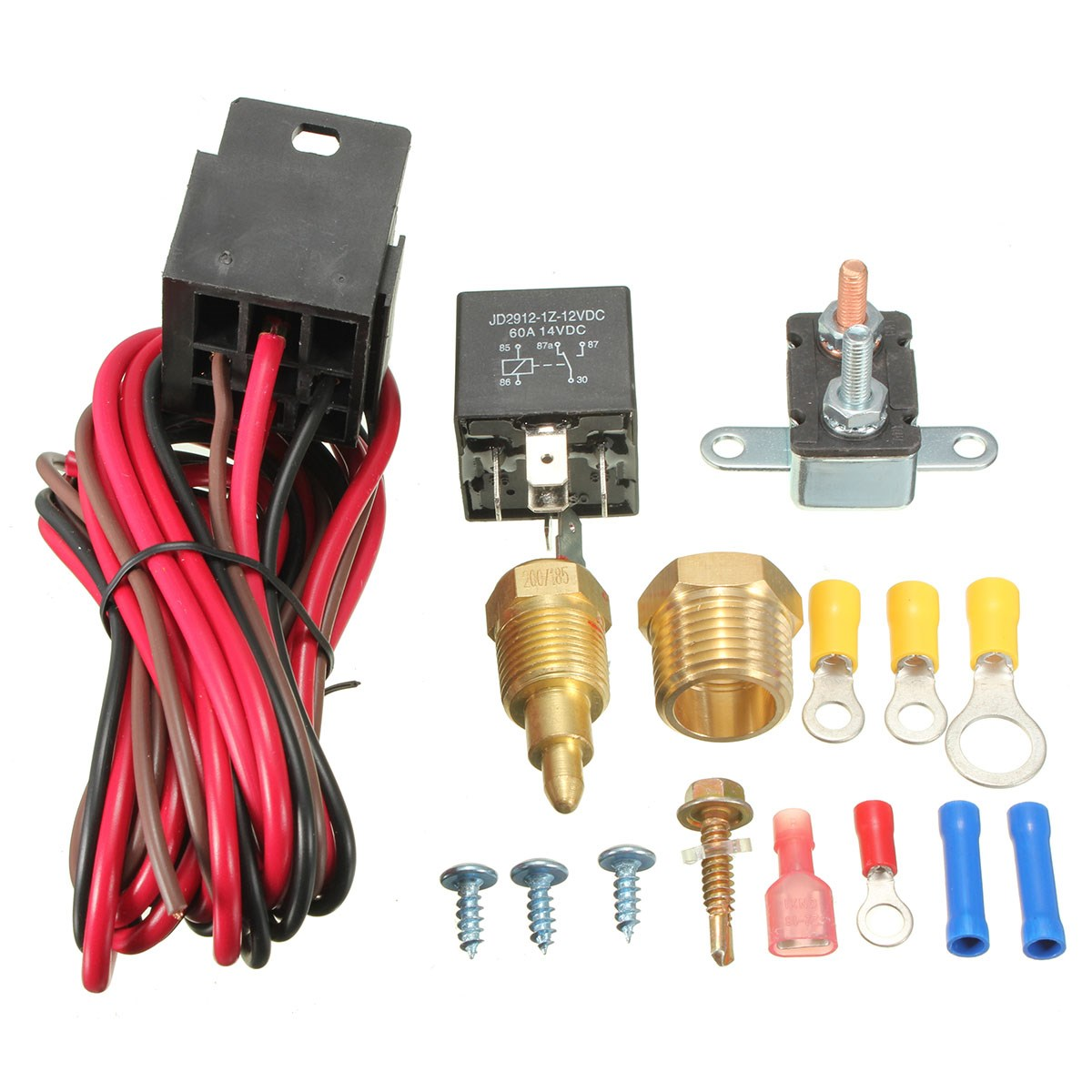 185 200 Degree Engine Cooling Fan Thermostat Temperature Switch Vw Radiator Wiring New 5 Pins Relay Kit Temp Sensor