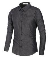 Men's Shirt European Style M-3XL 2017 Summer Casual New Fashion Slim Long Sleeve Cotton Cowboy Business Shirt