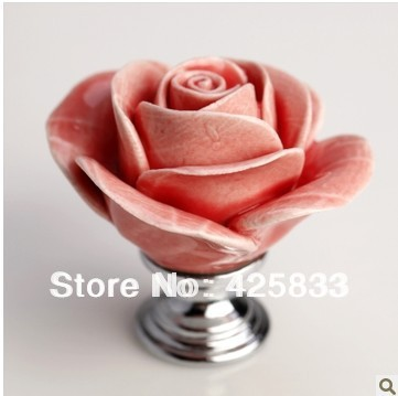 6pcs Pink Rose Flower Cupboard Drawer Pulls DIY Ceramic Knobs Cabinet Door Pulls Kids Dresser Knobs and Handle Granite