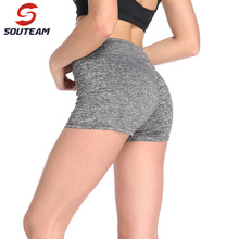 SOUTEAM Sports Gym Shorts Women in Yoga shorts High waisted Fabric Quick-drying Fitness Running Elastic tight