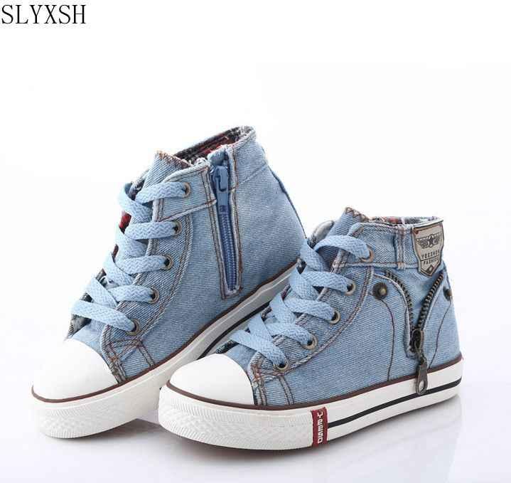 dbcb58613e9d SLYXSH 2018 Canvas Children Shoes Sport Breathable Boys Sneakers Brand Kids  Shoes for Girls Jeans Denim