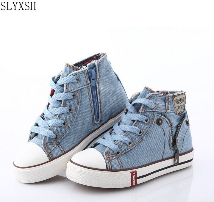 SLYXSH 2020 Canvas Children Shoes Sport Breathable Boys Sneakers Brand Kids Shoes For Girls Jeans Denim Casual Child Flat Boots