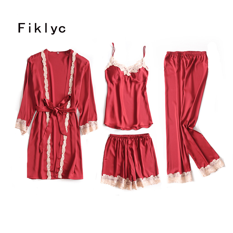 Fiklyc brand four pieces women's bathrobe + tops + short pants + long pants   pajamas     sets   satin & lace patchwork V-neck sleepwear